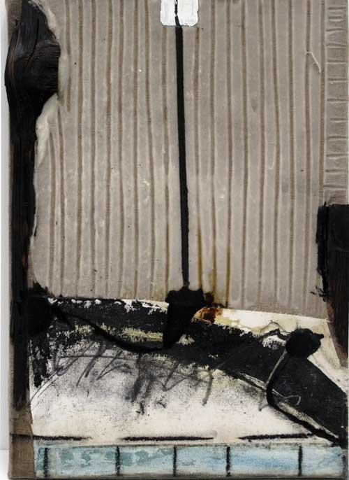 Seve T06-16 Résine et collage papier sur bois, 58 x 33