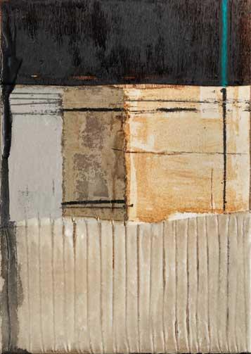 Seve T09-16 Résine et collage papier sur bois, 58 x 33
