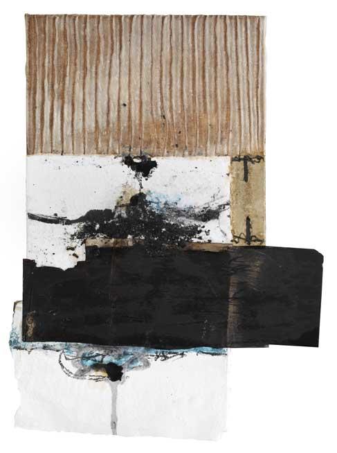 Seve T25-16 Résine et collage papier sur bois, 58 x 33