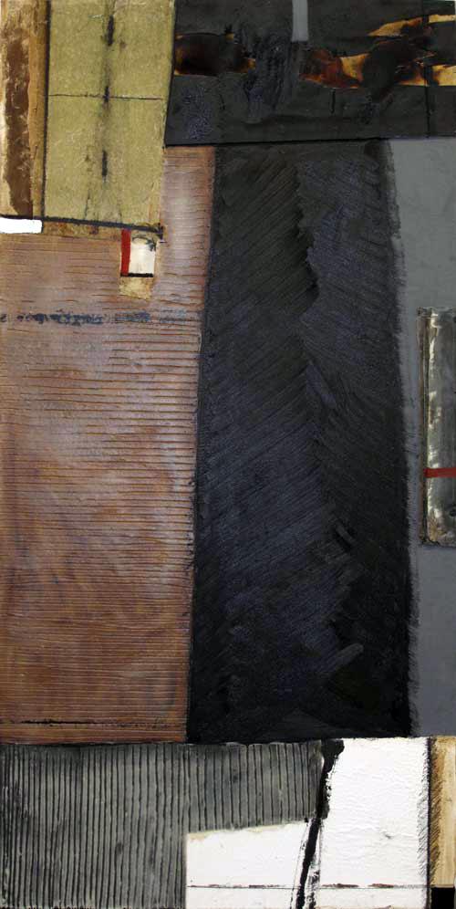Seve T31-16 Huile et collage sur toile, 195 x 97