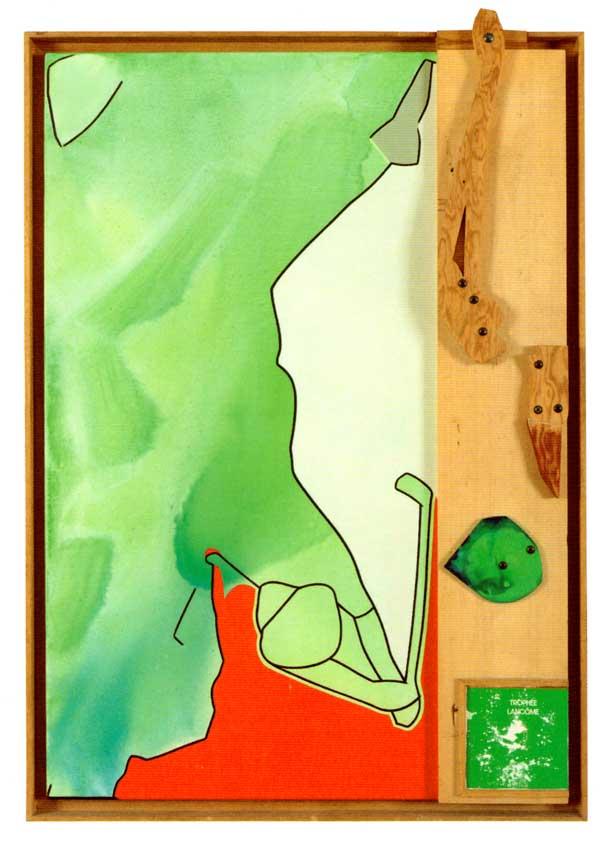 Telemaque - Lancome 1994 acrylique sur toile et objets 116x81