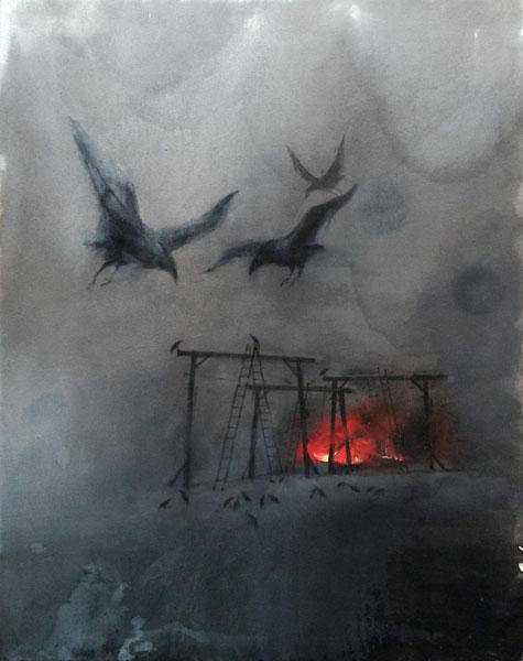 VELICKOVIC - Feux et corbeaux 116x89 2016