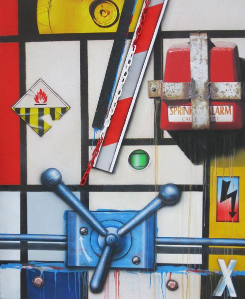 klasen - SPRINKLER ALARME TRIPLE MANETTE HOMMAGE A MONDRIAN 2017 - 162 x 130
