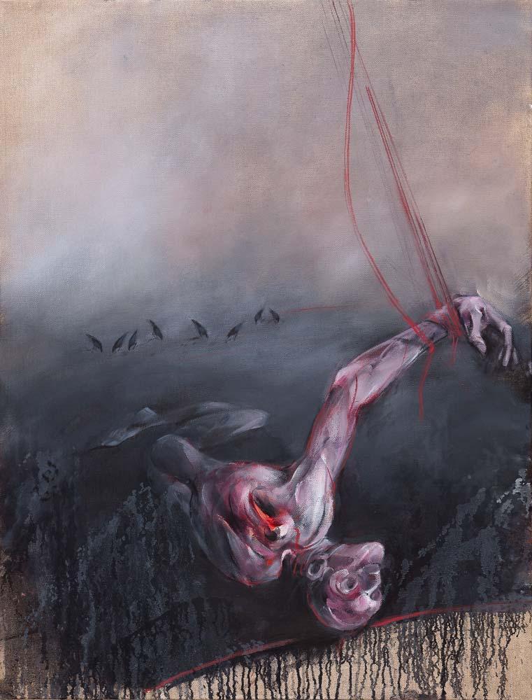 Blessure, 2016, huile sur toile, 116 x 89 cm