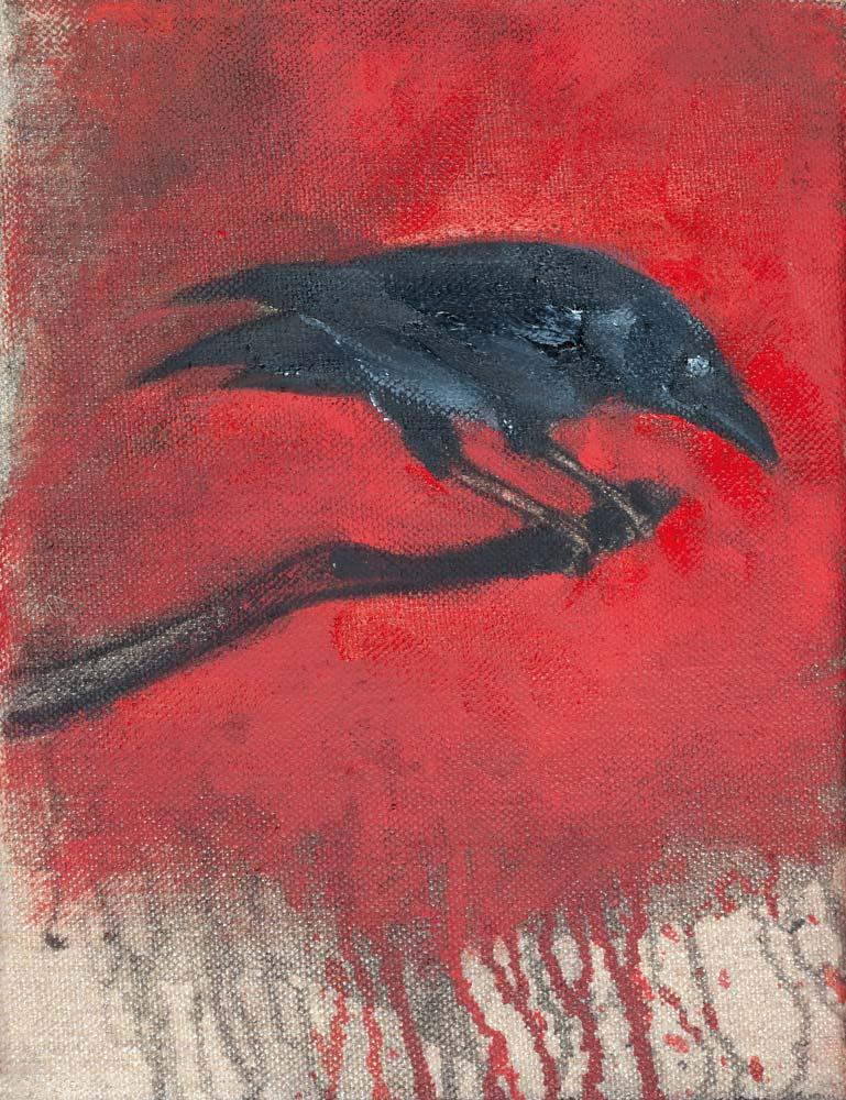 Corbeau, 2018, huile sur toile, 35 x 27 cm