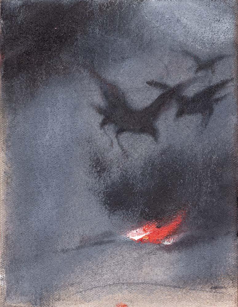 Corbeaux, 2017, huile sur toile, 35 x 27 cm