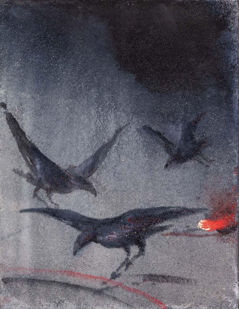 Corbeaux, 2018, huile sur toile, 35 x 27 cm
