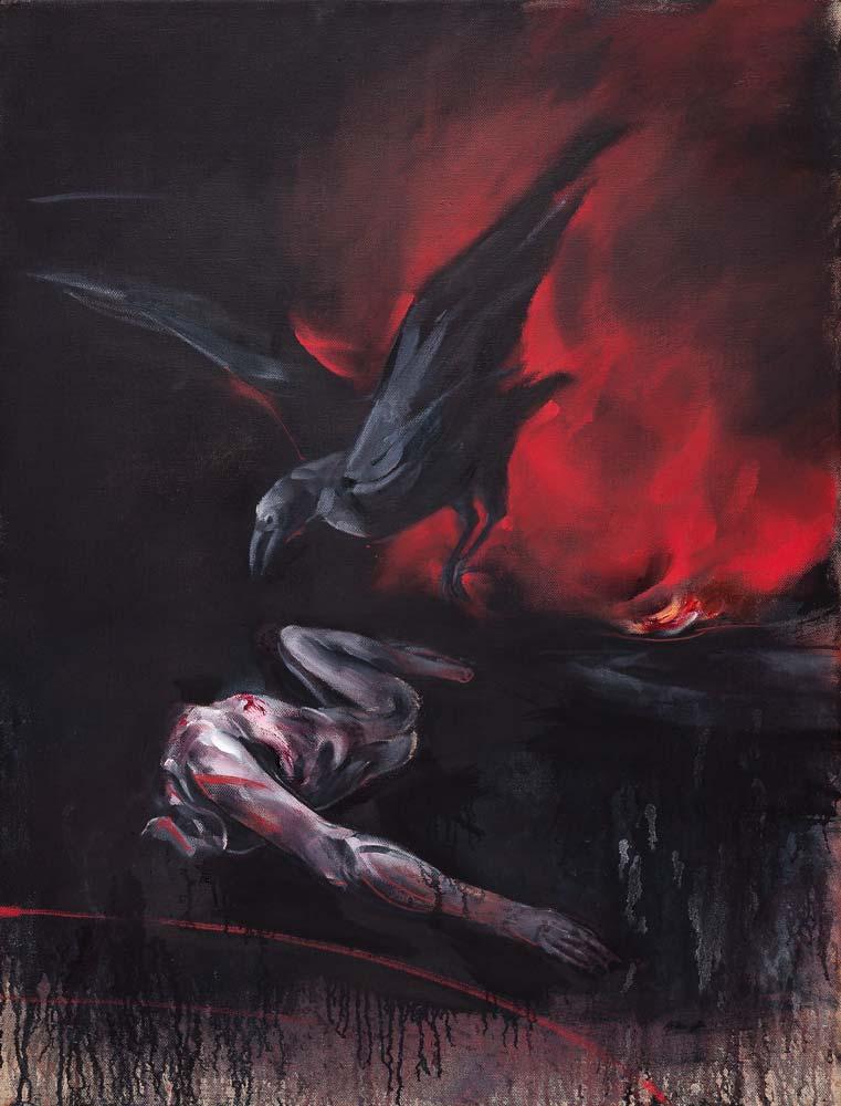 Feu, 2016, huile sur toile, 116 x 89 cm