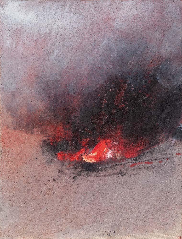 Feu, 2017, huile sur toile, 35 x 27 cm