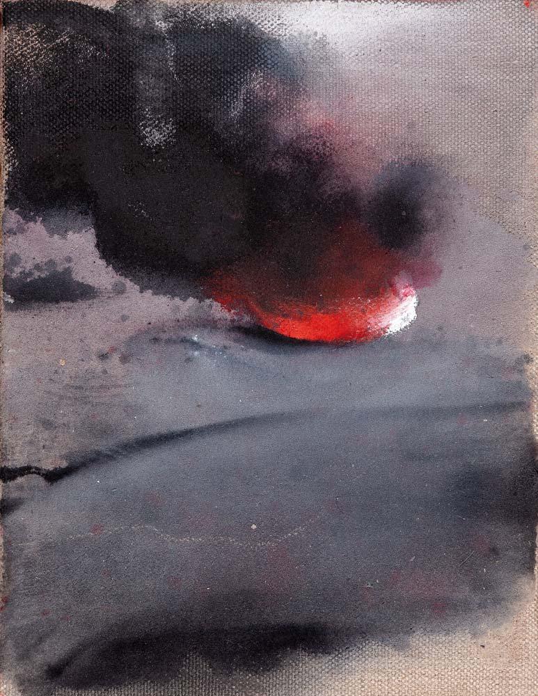 Feu, 2018, huile sur toile, 35 x 27 cm