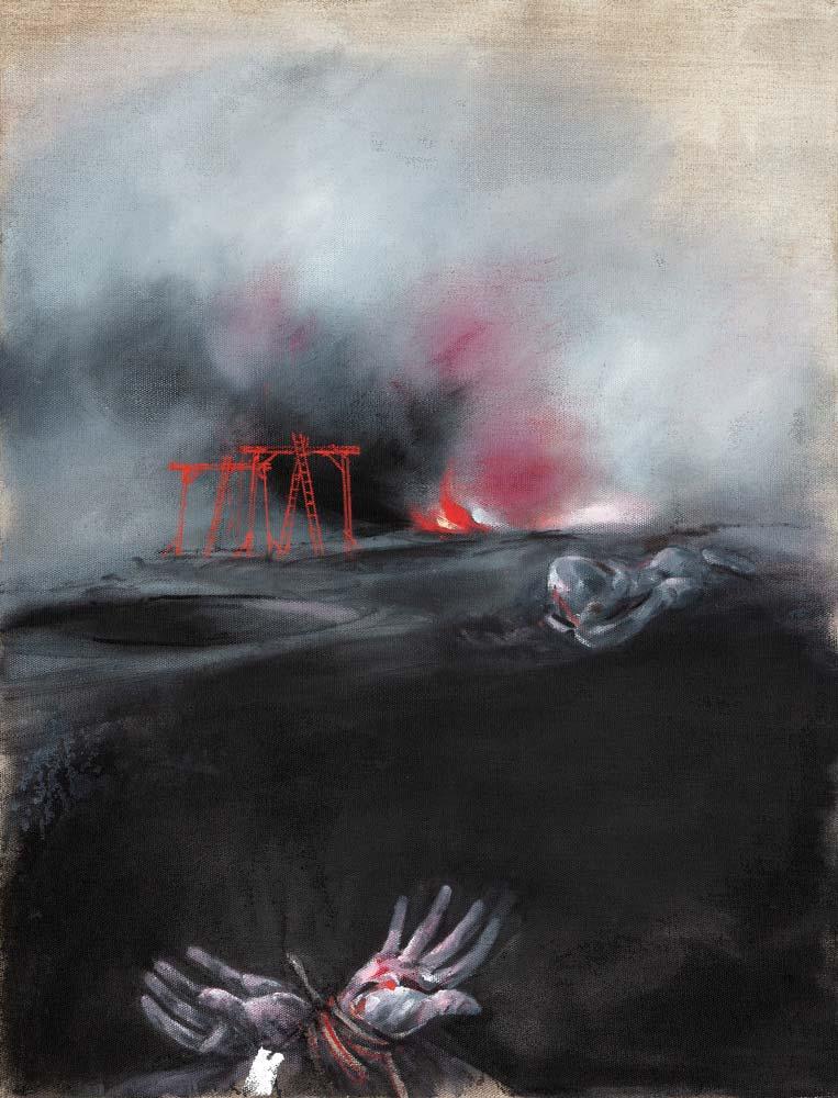 Gibets 2, 2018, huile sur toile, 116 x 89 cm