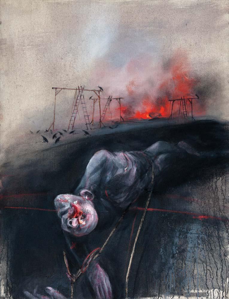 Gibets, 2018, huile sur toile, 116 x 89 cm