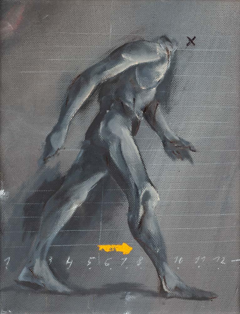 Homme qui marche, 2018, huile sur toile, 35 x 27 cm