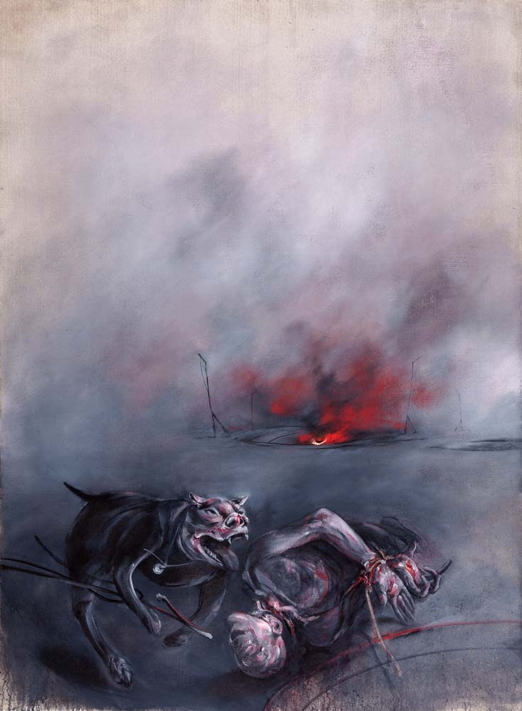 Pit-bull, huile sur toile, 225 x 165 cm, 2016