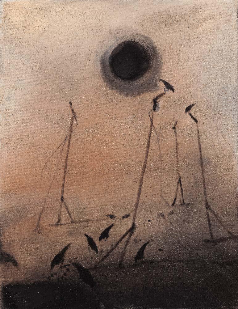 Soleil-noir, 2018, huile sur toile, 35 x 27 cm