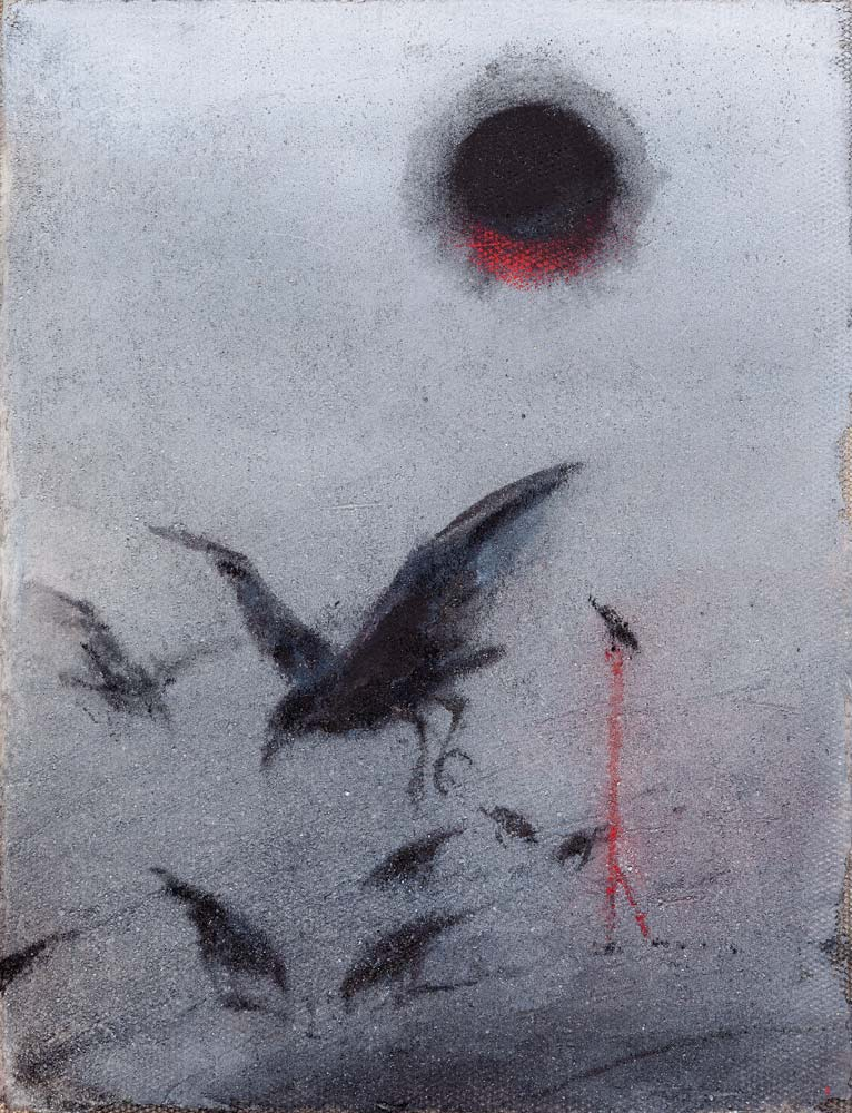 Soleil noir et rouge, 2018, huile sur toile, 35 x 27 cm