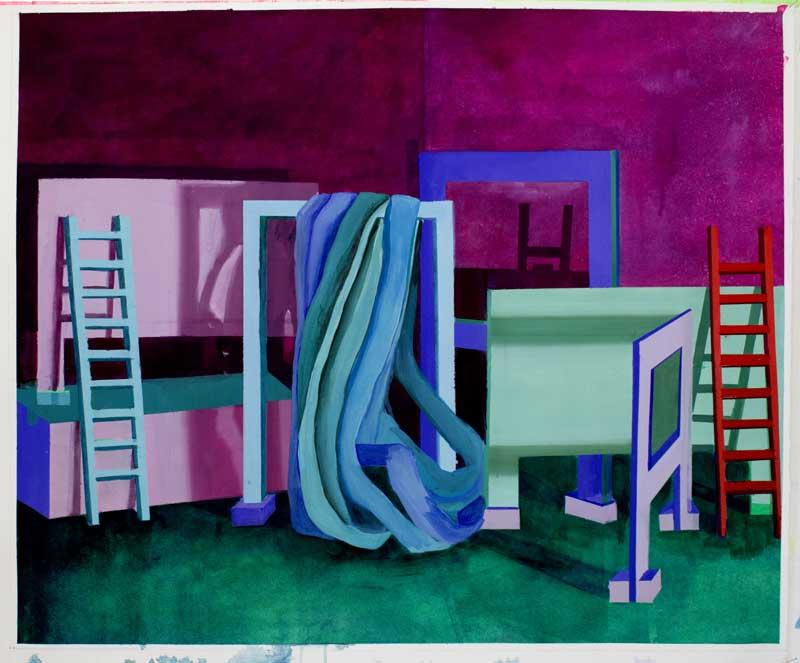 Scénette 02, 2019, gouache et tempera sur papier, 50 x 60