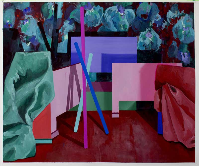 Scénette 03, 2019, gouache et tempera sur papier, 50 x 60