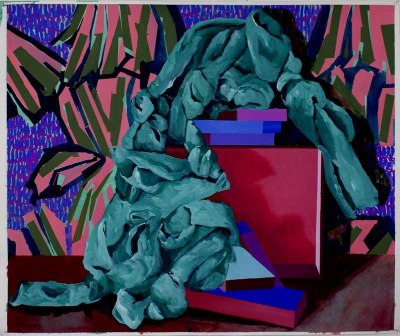 Scénette 04, 2019, gouache et tempera sur papier, 50 x 60