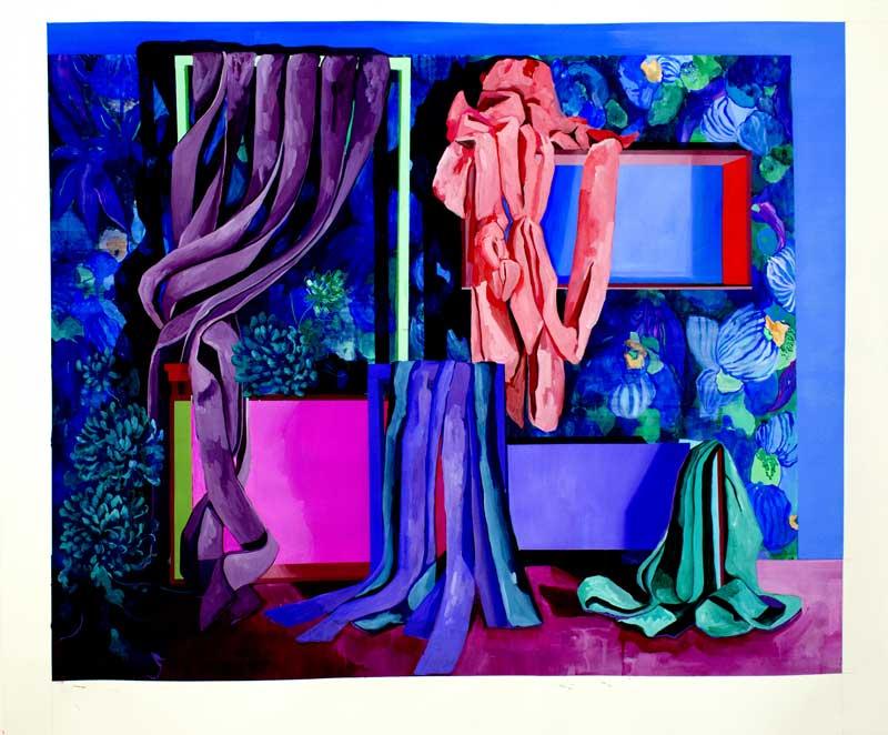 Les ombrages - bleu, 2019, gouache sur papier, 81 x 100
